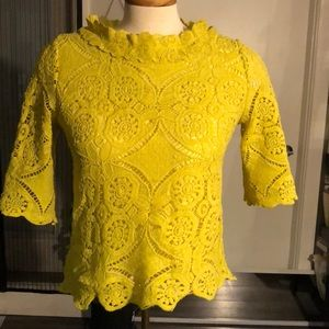 Size 4 yellow crochet style top